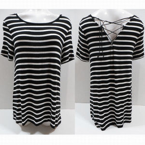 Old Navy top Medium striped lace up back